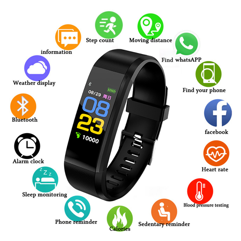 New Smart Sports Bracelet 115plus Mens Fitness Watch Heart Rate Blood Oxygen Monitoring Genuine Original Watch Pedometer +BoxNew Smart Sports Bracelet 115plus Mens Fitness Watch Heart Rate Blood Oxygen Monitoring Genuine Original Watch Pedometer +Box