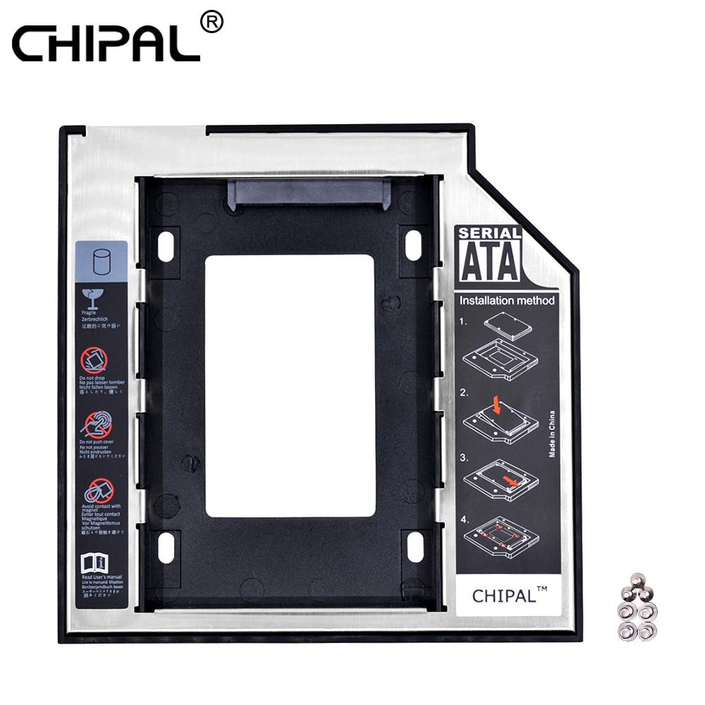 "Chipal 2nd HDD Caddy 9.5 мм SATA 3.0 2.5 ""SSD корпус жесткий диск корпус со светодиодной для Тетрадь CD/DVD-ROM/Пластик Алюминий"