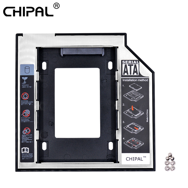 "CHIPAL Universal 2nd HDD Caddy 9,5mm SATA 3,0 para 2,5 ""carcasa de disco duro con LED para ordenador portátil CD DVD ROM óptico"