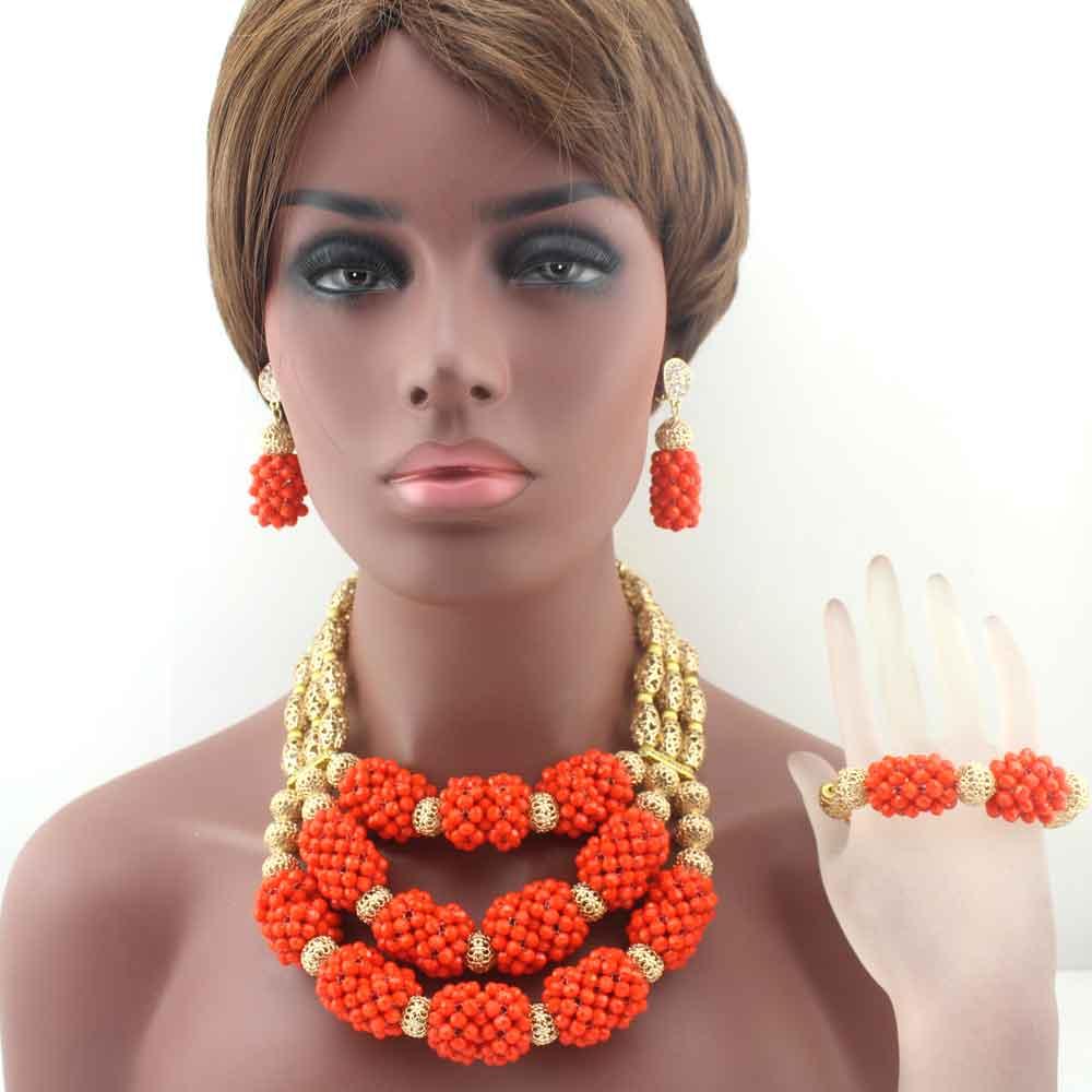 Christmas New Fashion nigerian Wedding Orange beads Jewelry Sets Crystal Beaded Necklace African beads jewelry sets W13687 african orange red beads necklace sets orange gold crystal balls beads women fashion jewellery sets qw1191