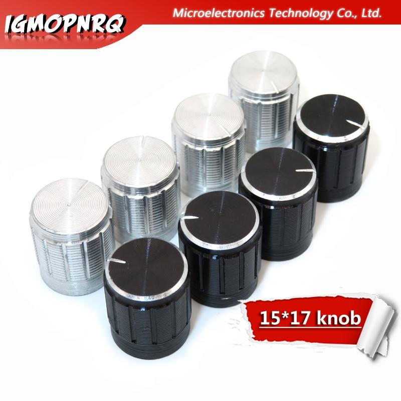 30Pcs Aluminum Alloy Potentiometer Knob Antiskid Single Double Potentiometer Special Trumpet 15*17mm 15*17 Knob