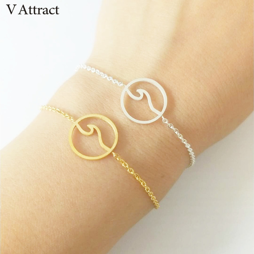 V Attract Fashion Delicate Sea Wave Bracelets For Women and Men Gold Silver Stainless Steel Chain Round Charms Surfer Jewelry