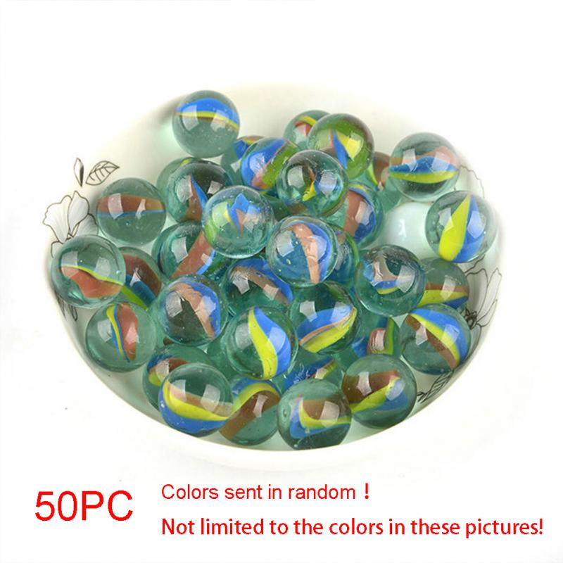 50pcs 16MM Marbles Coloured Glaze Glass Bead Marbles Classic Reminiscence Children Classic Toys