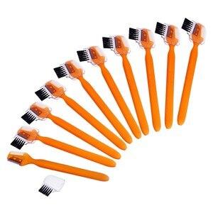 Расческа для бровей 3 в 1, 10 шт., женские бритвы для лица, триммеры для бровей, лезвия, бритва, острый Мини-нож для макияжа, инструмент для удале...