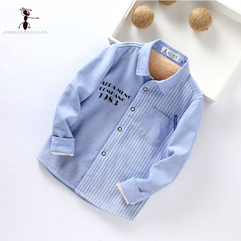 Kung Fu Ant 2017 New Arrival Fur Inside Turn-down Collar Shirts for Boys Casual Autumn Spring Cotton Plush Blouses 7112 kung fu ant plaid long sleeve autumn new arrival turn down collar blusas school blouse boy shirt long sleeve cotton 7105