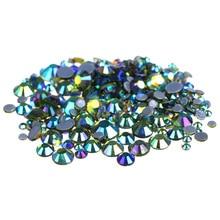1440pcs AAAA Quality Olivine AB Crystals Glass Hot Fix Rhinestones For Clothing Decoration Garment Flat Back Iron On Rhinestone