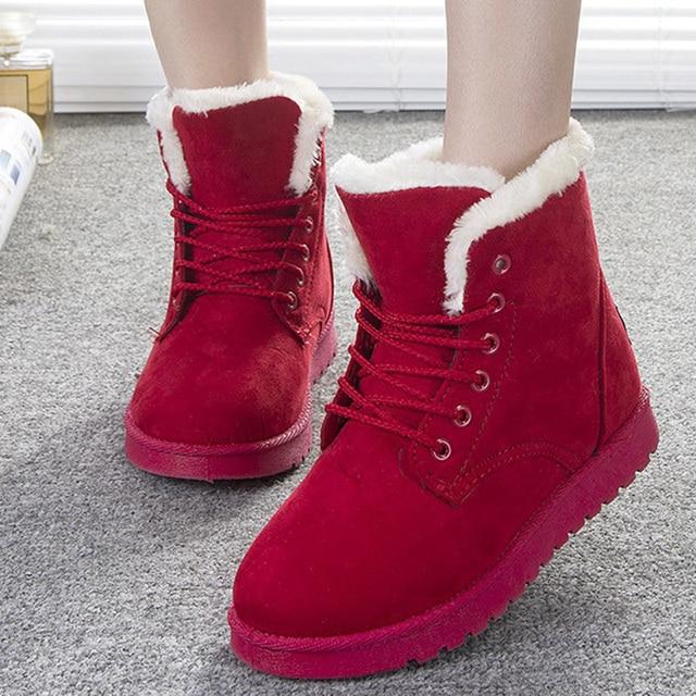 LAKESHI Women Boots Flock Warm Plush Women Winter Boots Lace Up Fur Ankle Boots Women Shoes