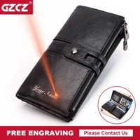GZCZ Free Engraving Women Clutch 2019 New Wallet Genuine Leather Wallets Female Long Wallet Women Zipper Purse Clamp For Money