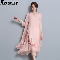 Natural silk 2 piece set dress with cardigan women 2018 designs summer Chinese vintage elegant runway print floral midi dresses