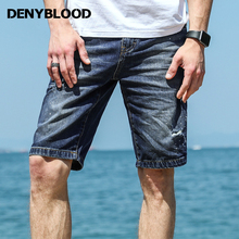 Denyblood Jeans 2017 Summer Mens Denim Shorts Distressed Jeans Ripped Capris Slim Straight Painting Patchwork Mermuda 828403