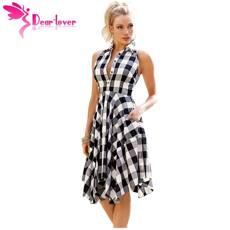 Dear-lover plaid vestidos casuales de la moda de verano señoras de la oficina az