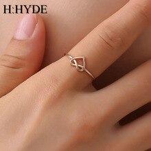H: HYDE обручальное кольцо с сердцем из розового золота, обручальное кольцо черного цвета из нержавеющей стали, модное ювелирное изделие для женщин