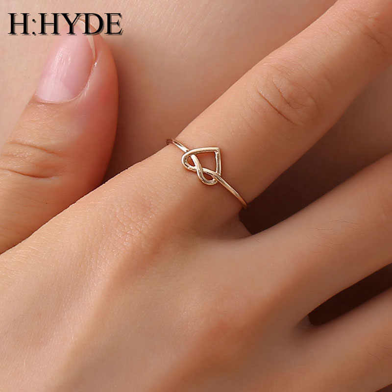 H:HYDE Wedding Heart Rose Gold Color Rings Engagement Black Color Stainless Steel Open Ring Fashion Bijoux For Women Jewelry