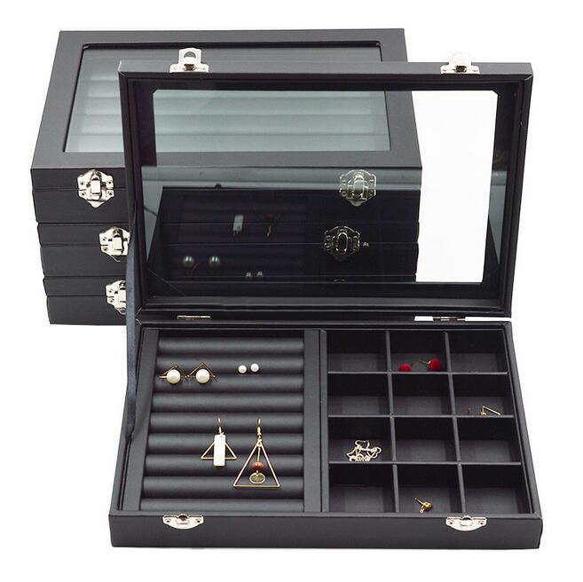 Top Size 28*20*4.5cm Black  Jewelry Display Box Case For Rings Earrings Bracelets Necklaces Or Other Ornaments Storage Organizer