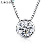 Teemi Top Quality 1 Carat Single Swiss Cubic Zirconia S925 Sterling Silver Pendant Necklace Bridal Engagement