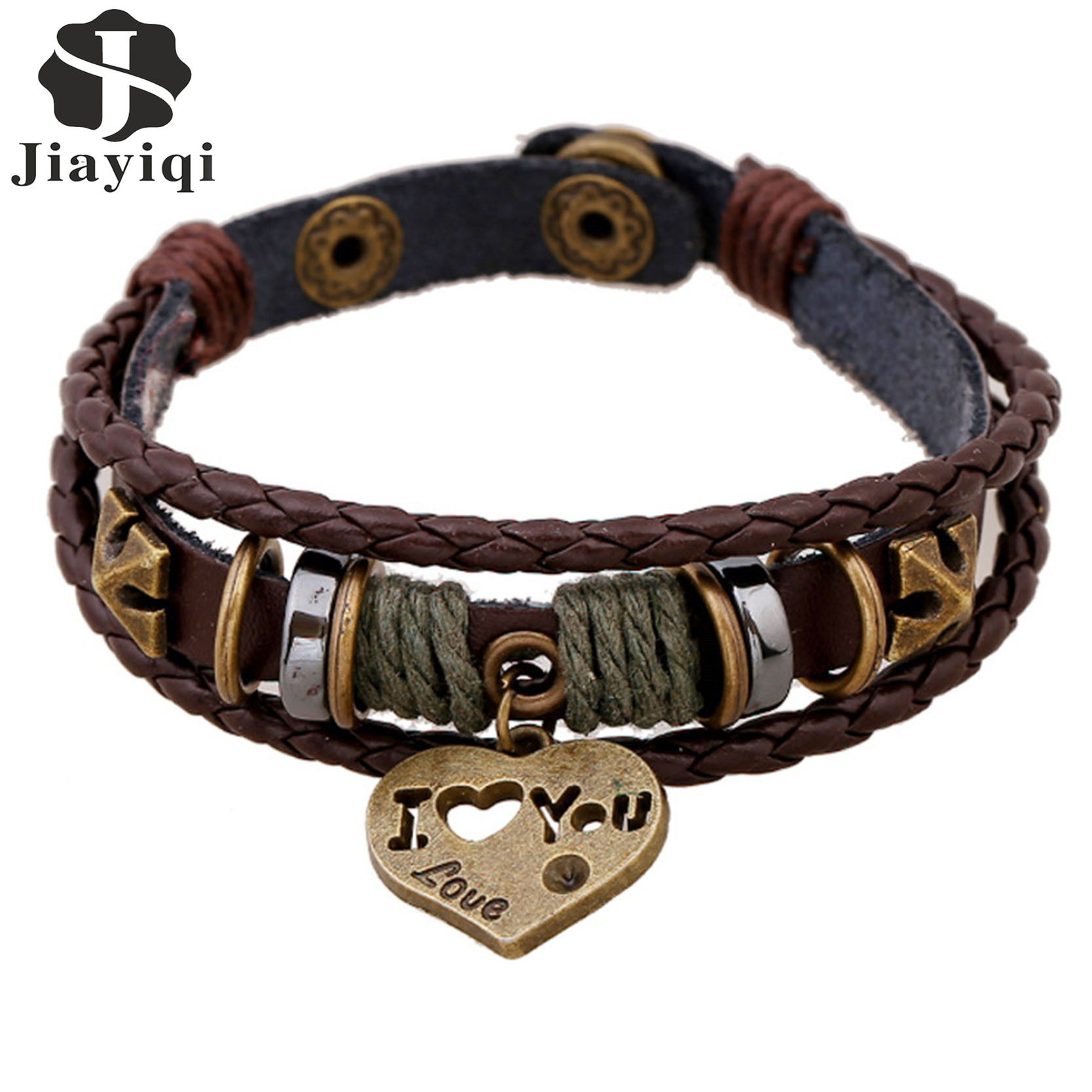 Jiayiqi Fashion Retro Beads Brown Multistrands Wrap Leather Bracelets For  Men Jewelry With Heart