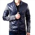 Мужчины шить кожа Jacke свободного покроя просто тонкий пиджак мода стенд воротник кожаной куртки мужчины шить кожаные куртки