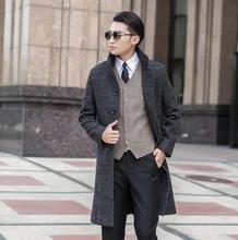 Grey casual Single-breasted long wool coat men 2016 trench jackets mens single breasted wool coats overcoats dress winter S 9XL