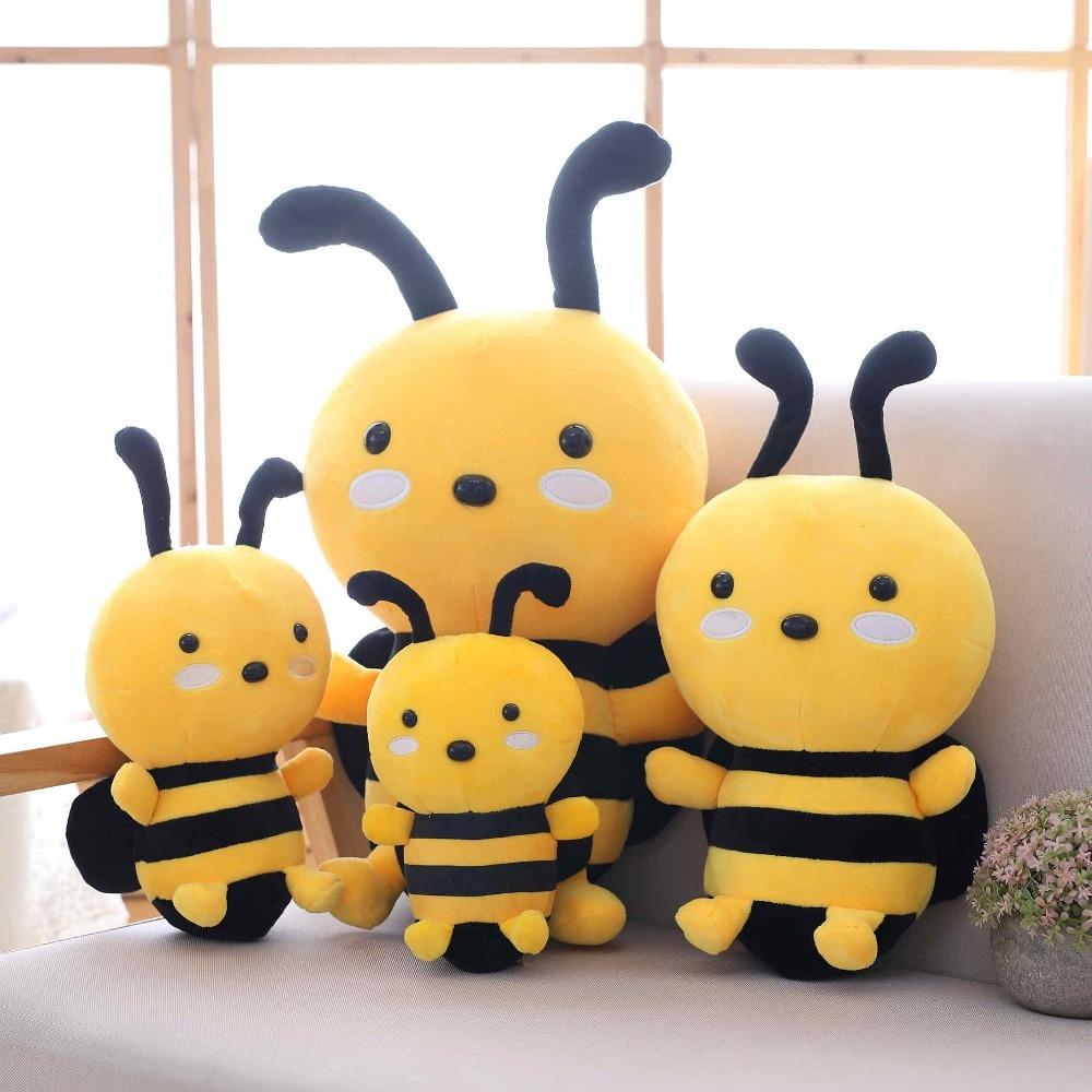20/25/35/45 cm Adorable abeja de la miel de peluche de juguete de abeja de insectos de peluche de juguete para niños decoración del hogar cama decente