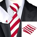 2016 Hot Selling  White Red Striped Tie+Hanky+Cufflinks Set Men's 100% Silk Ties for Formal Wedding Business Party SN-242