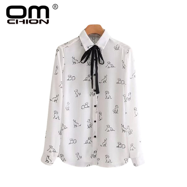ed447b741f72 OMCHION Blusas Mujer De Moda 2018 Long Sleeve Womens Tops And Blouses Bow  Dog Printed White Shirt Casual Summer Tops LS293