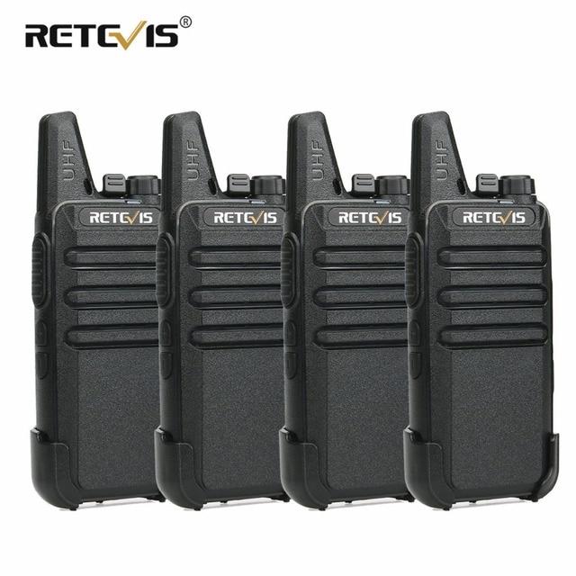 4pcs RETEVIS RT22 Mini Walkie Talkie 2W UHF VOX Portable Two-way Radio Station Talkie Walkie Transceiver Walkie-Talkie Walk Talk