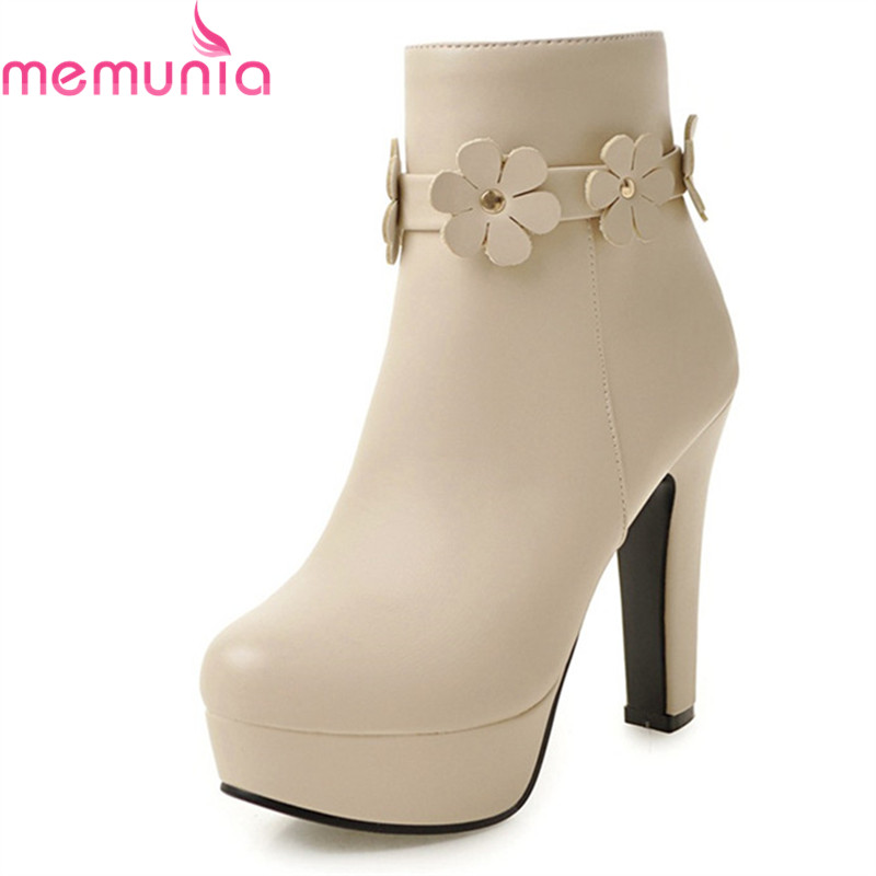 MEMUNIA 2018 new arrival ladies boots round toe 11.5cm extrem high heels boots with flower women's sexy platform ankle boots