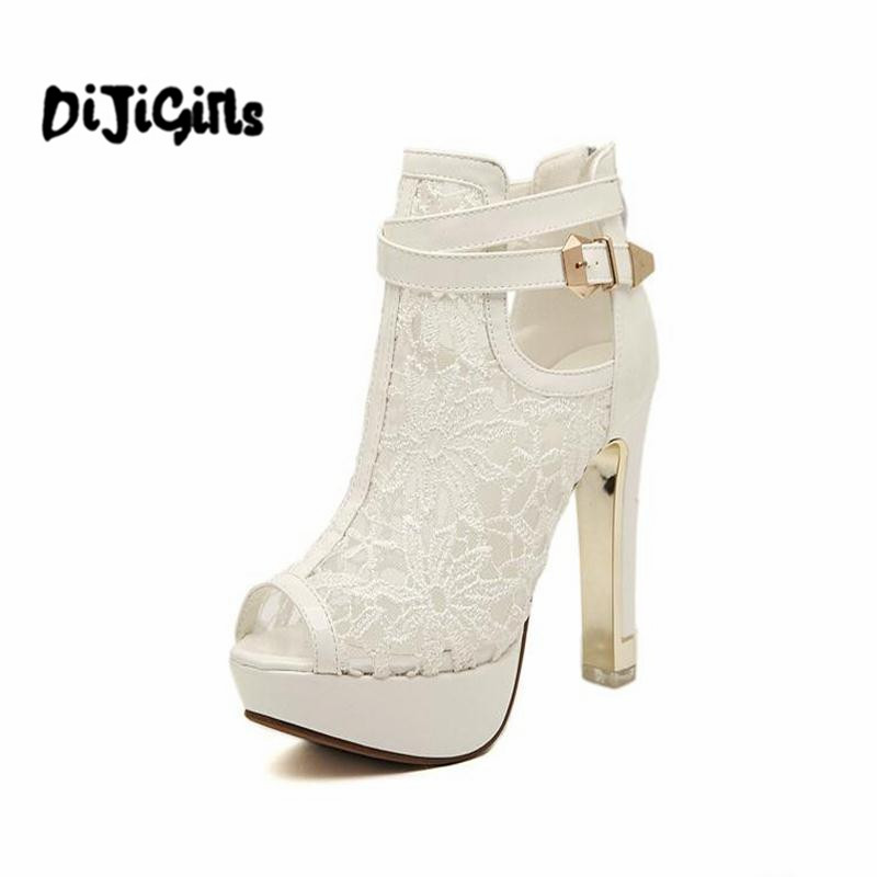 2 2017 New Us25 Black Platform Shoes In On Women Pums Sandals Women's 10Off Peep From Pumps Mesh White Lace High Heels Toe odxBQCreWE