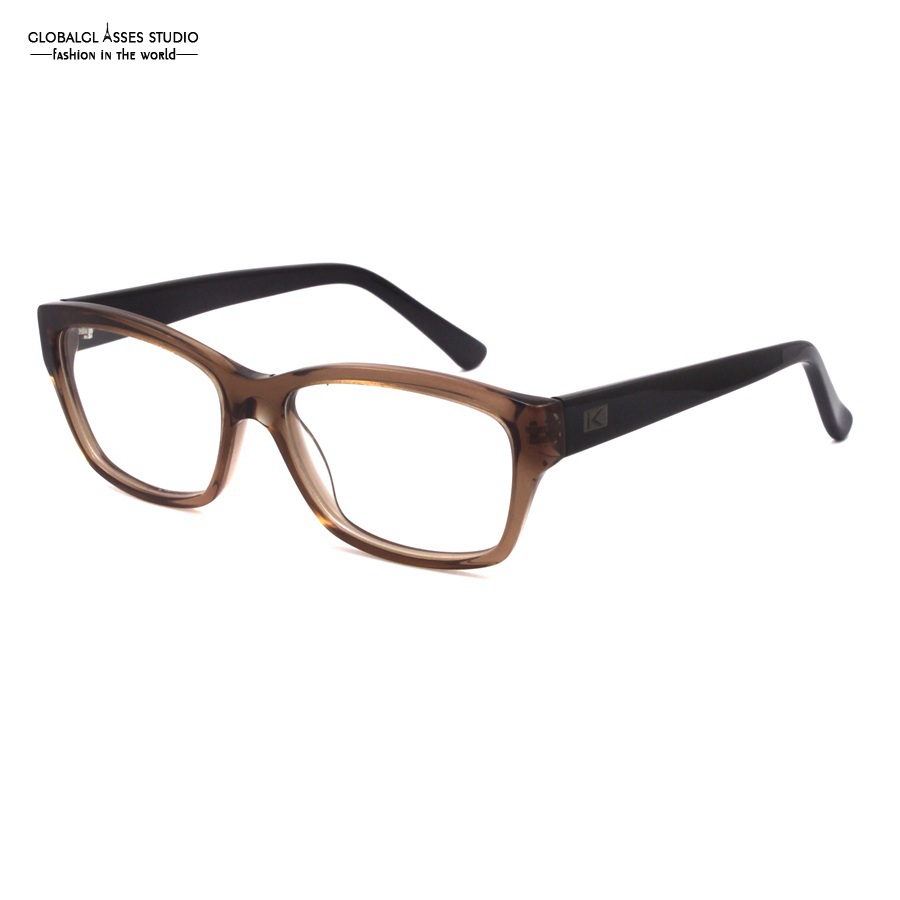 oversized big rim acetate glasses frame crystal brown frame black temple simple solid eyewear spectacle eyeglasses