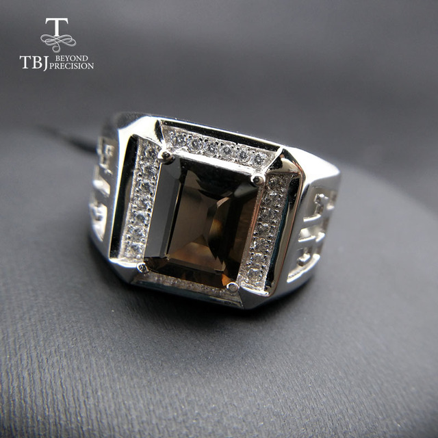 TBJ, 2017 new men's ring with natural smoky quartz in 925 sterling silver gemstone jewelry ,best gift for mens' boyfriend style