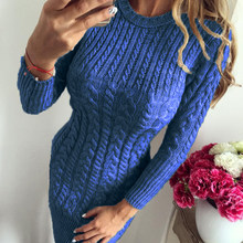 Autumn Winter Warm Sweater Dress Women Sexy Slim Bodycon Casual Female O-neck Long Sleeve Knitted Dresses Vestidos(China)
