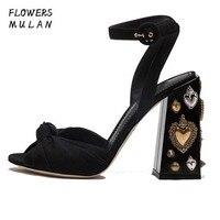Модные брендовые дизайнеры Для женщин Босоножки на высоком каблуке летние открытый носок узел верхнего обувь с ремешком на щиколотке на не