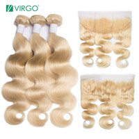 Virgo 613 Blonde Body Wave Brazilian Hair Weave Human Hair Bundles with Closure 3 Bundles Remy Hair with Lace Frontal Closure