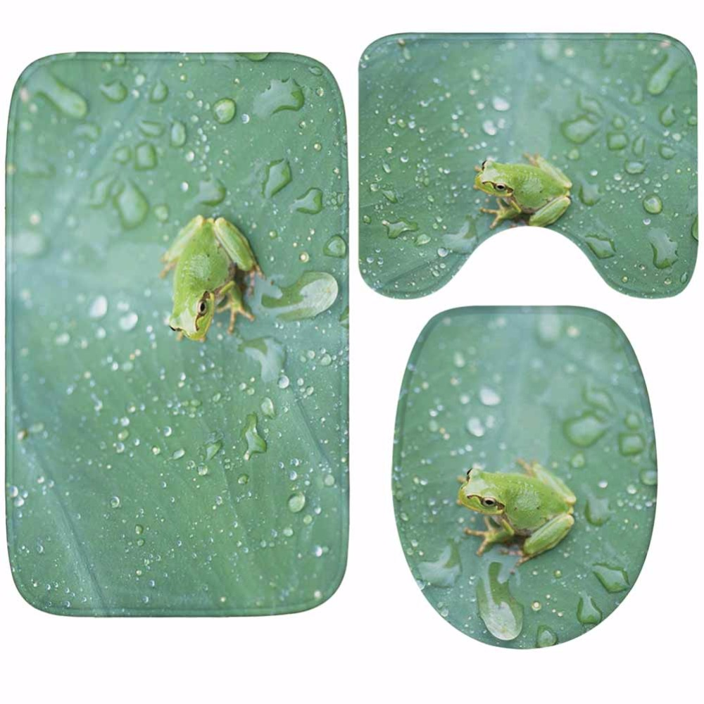 Image 4 - CAMMITEVER Toilet WC Non slip Carpet Creative Green Leaves Bathroom 3PCS Set Area Rugs 3D Leaf Home Hotel Decor Soft Pads-in Rug from Home & Garden