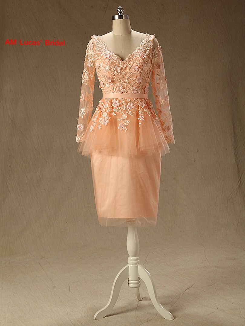 New Mermaid   Cocktail     Dress   With Long Sleeves Beaded Flowers Prom Party Gowns Short   Dresses   Vestido De Festa Curto