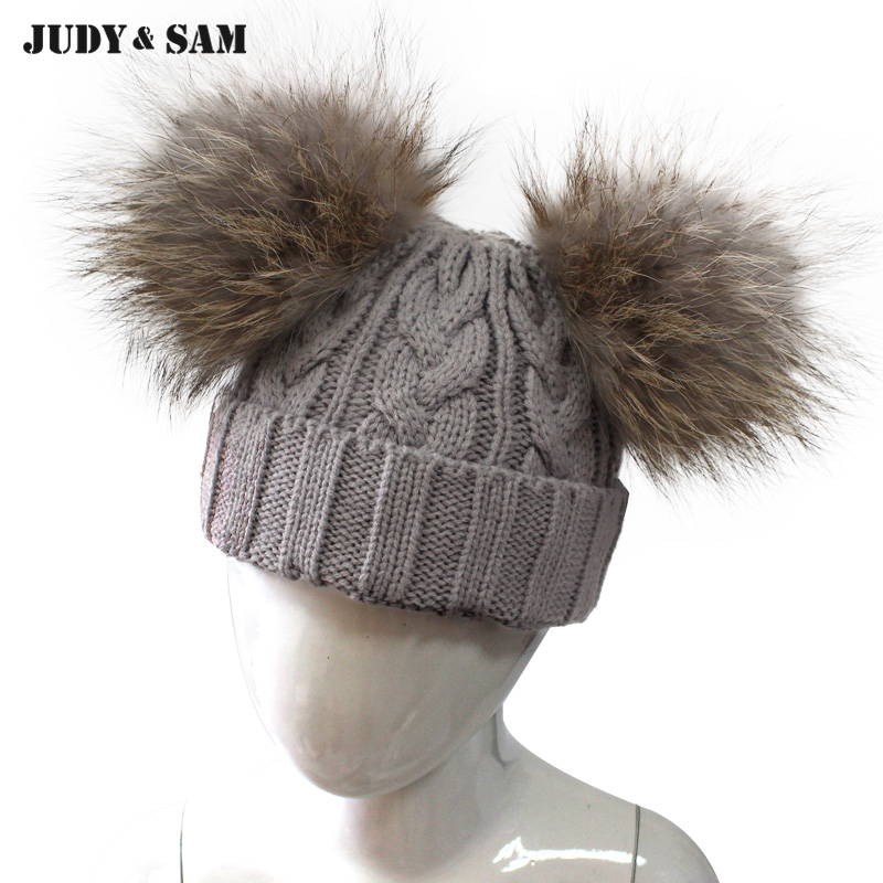 New Top Bobble Raccoon Fur Pom Poms Match Color Wool Blend Hat For Kids Outwear Winter Fashion Crochet Hat 2 Fluffy Fur Ball new star spring cotton baby hat for 6 months 2 years with fluffy raccoon fox fur pom poms touca kids caps for boys and girls