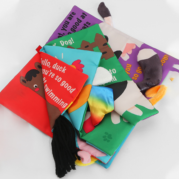 Image 3 - Beiens Infant 3 Style Baby Cloth Books Early Learning Educational Toys with Animals Tails Soft Cloth Development Books Rattles