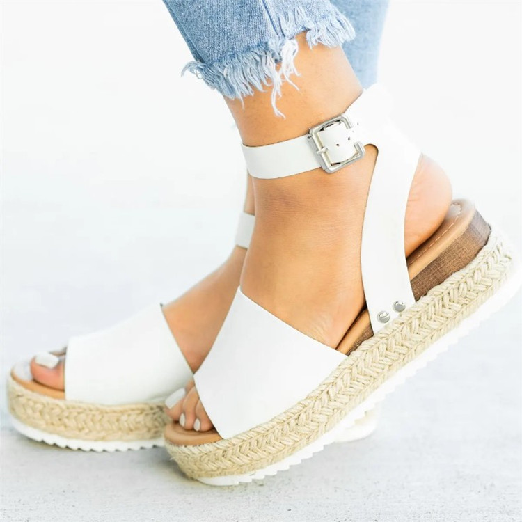 HTB1Ui0ZN9zqK1RjSZFHq6z3CpXaR 2019 Summer Womens Casual Espadrilles Trim Rubber Sole Flatform Studded Wedge Buckle Ankle Strap Open Toe Sandals