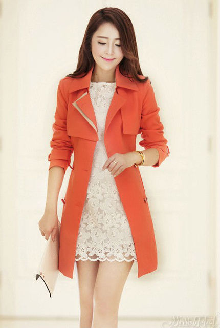 2015 New Fashion Women Slim Double Breasted Dust Coat Ladies Trench Overcoat Long windbreak Outerwear Clothes