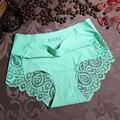 3 Unids/lote Mujer de Encaje Bragas Atractivas De Fibra De Bambú Mediados de cintura Calzoncillos Anti-bacterianas Transpirable Señoras ropa interior de la Muchacha 9896 9871