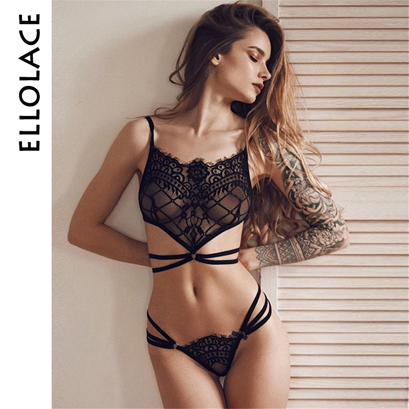 Ellolace Sexy Lace Lingerie Set Women Transprant Bandage Bra Sexy Lingerie Bra Panties Fashion Underwear Sexy Costumes Brassiere