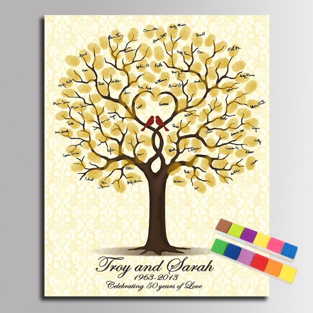 Fingerprint Signature Canvas Painting Birds In Heart Tree Wedding Anniversary Gift Guest Book