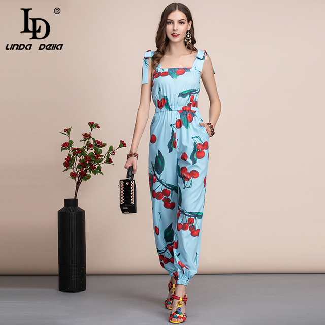 LD LINDA DELLA Casual Bohemian Cherry print Women Jumpsuit Elastic Waist Elegant Ladies long Jumpsuit Summer Plus plus Playsuit 1