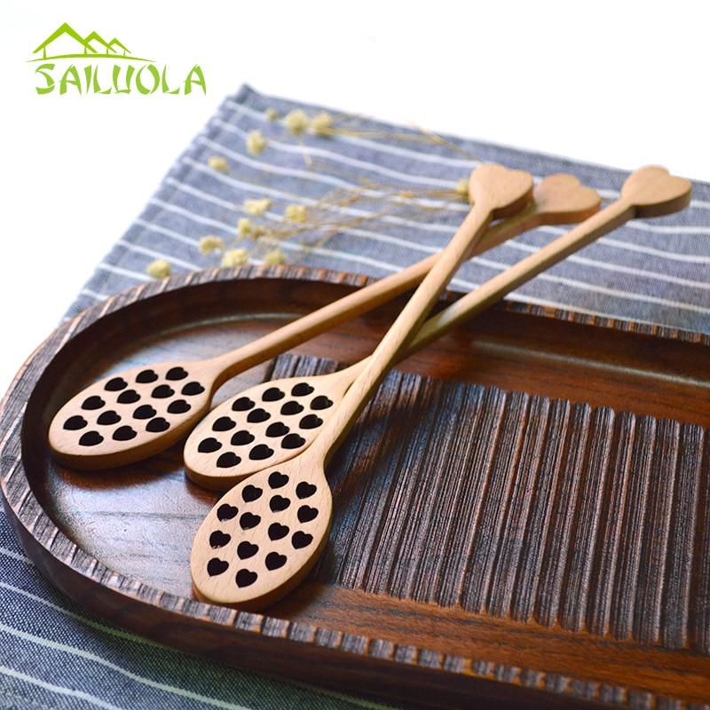 2ks japonský styl tepla bukové dřevo medová lžíce Creative Carving káva míchání nádobí