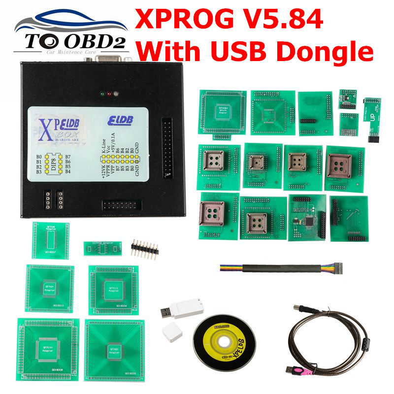 <font><b>XPROG</b></font>-M V5.84 Metal Box <font><b>XPROG</b></font> V5.84 <font><b>Xprog</b></font> V5.84 Auto ECU Programmer Tool X Prog Box <font><b>5.84</b></font> Full Adapters With USB Dongle ATMEGA64A image