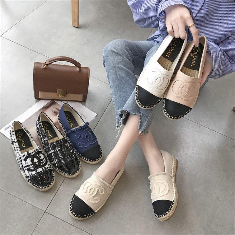 Chowaring Brand Designers Women Flats Shoes Slip On Leather Tweed Espadrilles Hemp Bottom Loafers Spring Autumn buty damskie