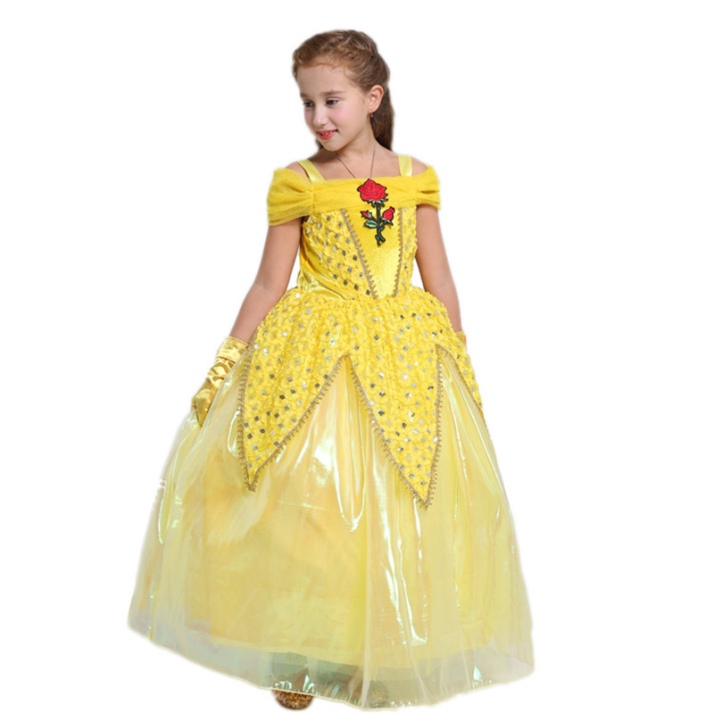 2017 Girl Princess Belle Dresses Kids Cosplay Costume Clothing Children Cinderella Rapunzel Sleeping Beauty Aurora Party Vestido princess cinderella girls dress snow white kids clothing dress rapunzel aurora children cosplay costume clothes age 2 10 years