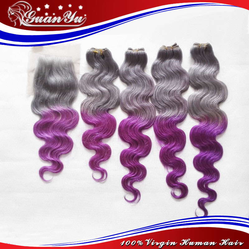 2016 Super Trend Grey Purple Human Hair Extensions Body Wave