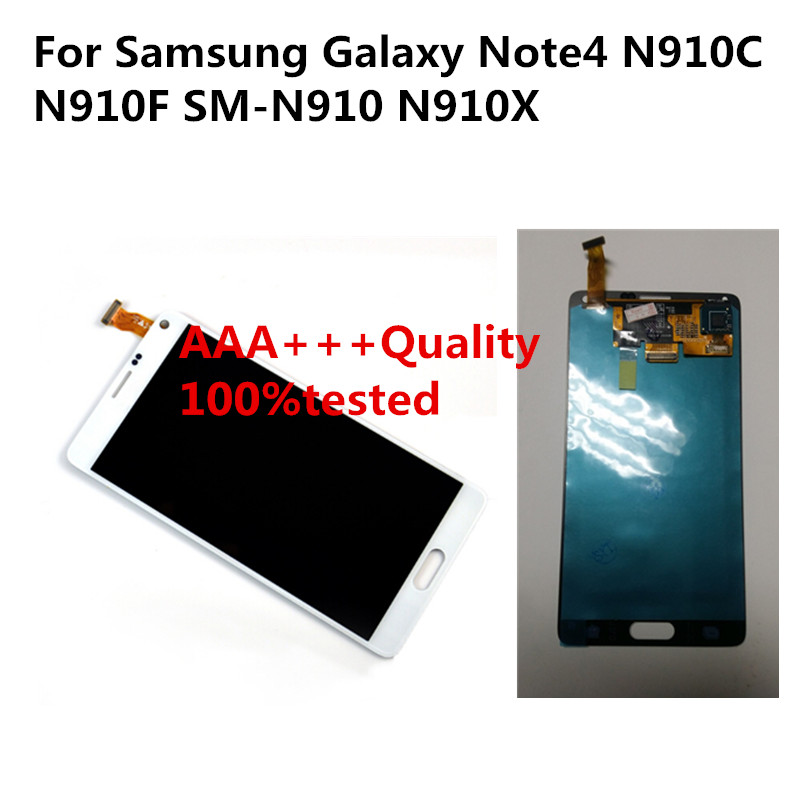 AAA+++ Note4 LCD For Samsung Galaxy Note4 N910C N910F SM-N910 N910X Screen for Note 4 IV Digitizer Assembly LCD Replacement DHL