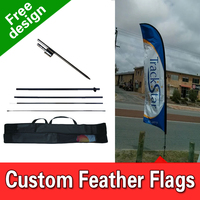 Free Shipping Single Sided In ground Spike Business Ad Flags Signs Advertising Flutter Flags Feather Sign